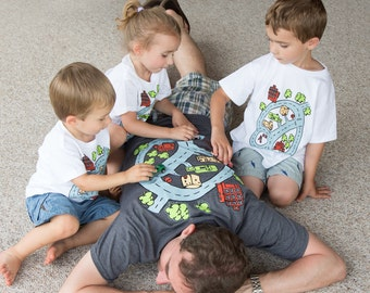 Dad's racing car road map race track shirt for father son matching shirt set