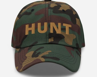 Hunting Distressed Ball Cap 3D Embroidered Hunt Hat For the Hunter
