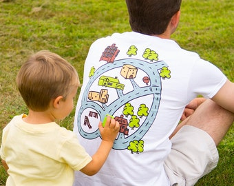 Car Race Track Road Map T-Shirt Road on Back Play Mat for Dad From Kids