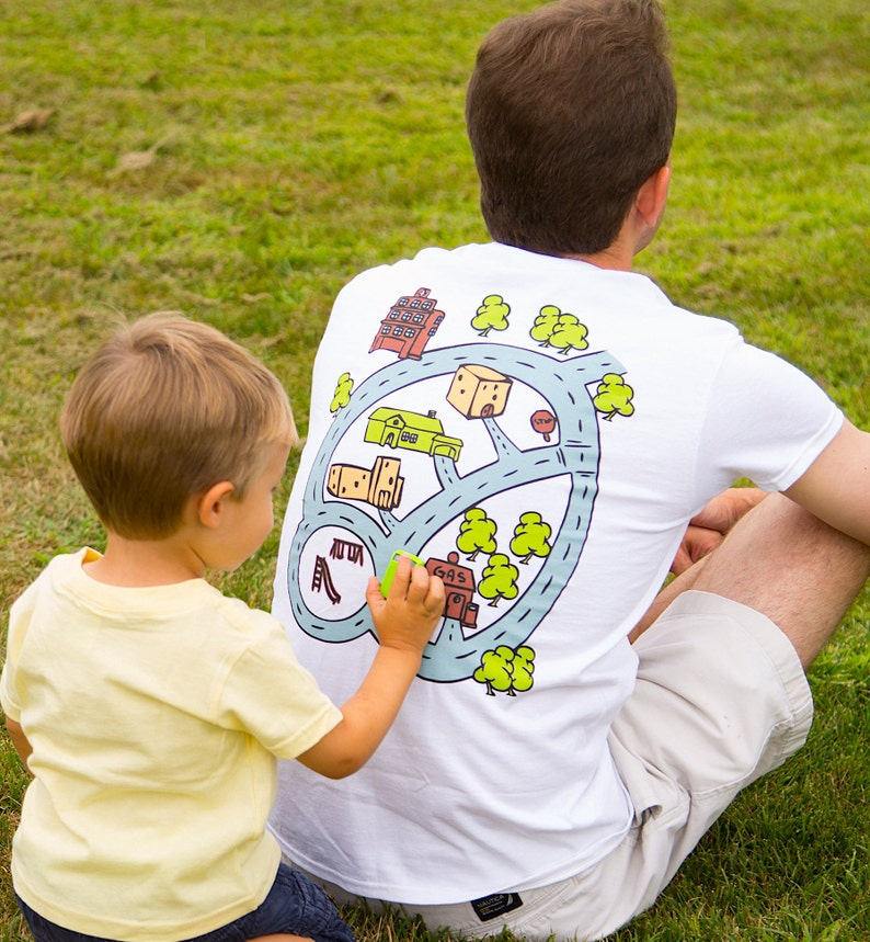 Car Race Track Road Map T-Shirt Road on Back Play Mat image 0