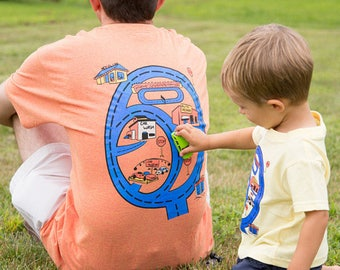 Matchbox Car Matching Race Car Shirt Gift for Dad From Son Race Track Road Map Shirt Play Mat Shirt. Fathers Day Dad's Birthday