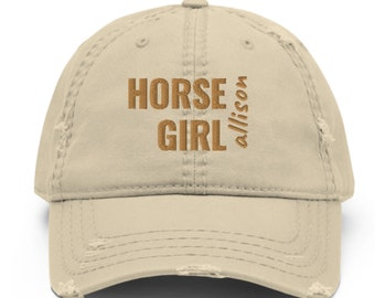 Horse Girl Hat Pesonalized Embroidered Distressed Horse Riding Racing Equestrian Gift
