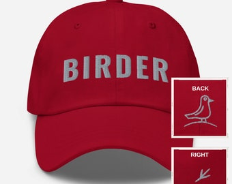 Birder Hat 3D Embroidered 3 Sides GIFT Bird Lover Ornothologist Nature Lover Baseball Cap Variety Colors