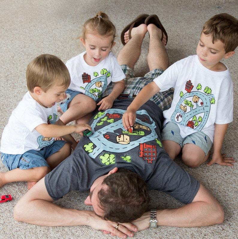 Father Son Matching Road Map Shirts PLUS Matchbox Car Race image 0