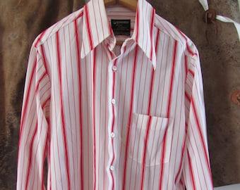 70s Striped Kentfield First Edition Long Sleeve Shirt, men's M-L // Vintage Hippie Dress Shirt