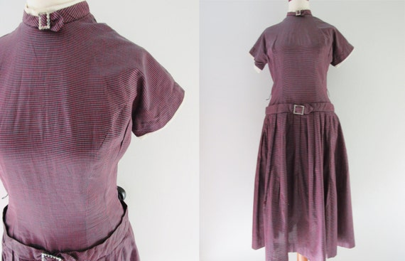 50s Teena Paige Deep Purple Bejeweled Circle Skirt