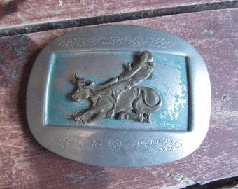 RARE 50s Pjazza Bros Rodeo Belt Buckle // Vintage Texas Western Cowboy Bull Riding Belt Buckle
