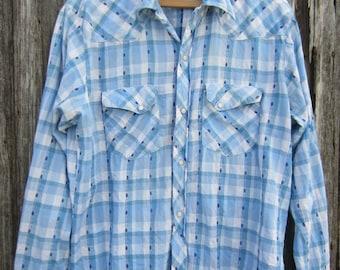 70s Plaid Western Shirt by Stage West, Men's M-L  // Vintage Pale Blue and White Cotton Cowboy Shirt