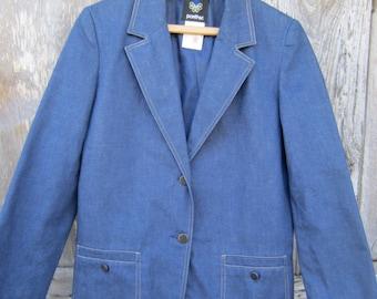 70s/80s Blue Denim Blazer w/ 3/4 Sleeves by Pantter, Women's M // Vintage Single-Breasted Jacket