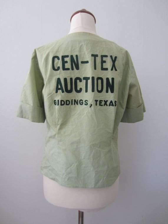 40s Pale Green Texas Crop Bowling Shirt w/ Name Em