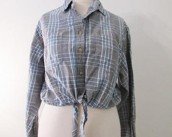 90s Wrangler Blues Plaid Daisy Duke Crop Knot Cowgirl Shirt, Women's M-L  // Vintage Cropped Western Shirt // Knot Shirt