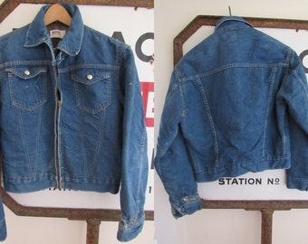 50s/60s 101 Montgomery Ward Blanket Lined Denim Jacket, Women S-M Men S // Vintage Two Pocket Denim Jacket // Blue Jean Jacket