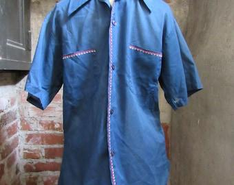 60s/70s Blue Career Club Short Sleeve Shirt, Men's M // Vintage Straight Hem Shirt