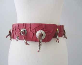 80s Unique Red Western Charm Waist Belt by Janell Originals, 78 cm, W30 in // Texas Cowgirl Funky Wide Dress Belt w/ Hook-and-Loop Fastener