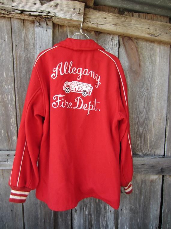 40s NY Firemen Varsity Jacket for Allegany Fire De