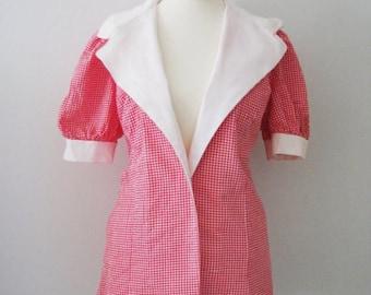 70s Micro Plaid Rockabella Blouse w/ Puffed Sleeves, M // Short Sleeve Blazer // Vintage Tablecloth Shirt