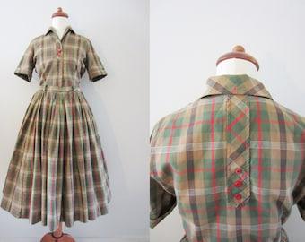 50s Plaid Western Dress w/ Full Skirt by McKells in Dallas, XS / Petite, W24 // Vintage Pin-up Day Dress // 2-Piece Dress