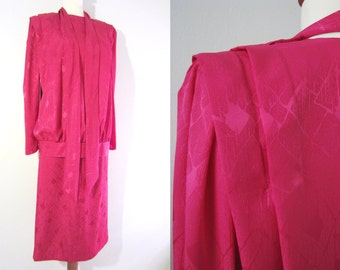 70s Avant Garde Tailored Cocktail Silk Dress in Hot Aniline Pink by Marja-Liisa Laine, S-M, W27 // Vintage Two-Piece Cocktail Dress