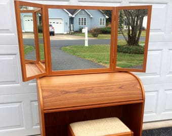 Danish Modern Teak Roll Top Vanity w/Stool & Mirror Denmark