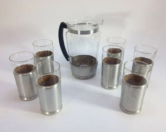 Aluminum Glass and Pitcher Set Vintage 1950's Cup Holders