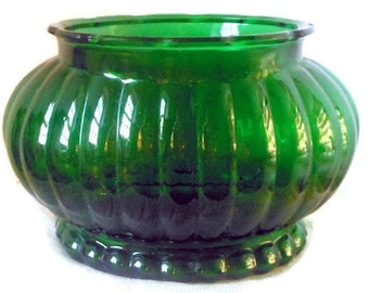 Vintage Colored Glass Green Planter Vase Spring Emerald Green Oval A.L.R. Co R-18 40's-50's Ribbed Glass Flowers Garden Home Decor