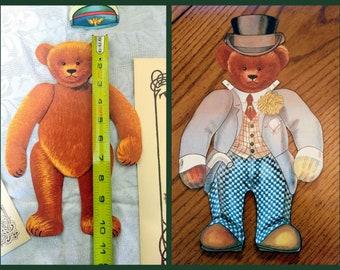 1907 Replica Merrimack Jumbo Teddy Bear Paper Doll Collector Set Old Fashioned Teddy Bear Doll & Costume Set