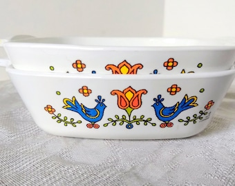 1975 Corning Ware Country Festival Petite Dishes - 2 PC Set P-41-B 1 3/4 Cup
