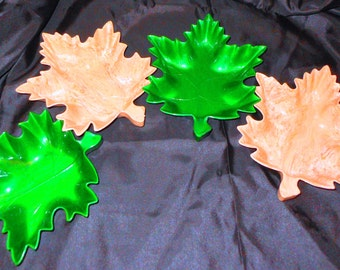 Melamine Plates Leaf Plates Maple Leaves Dishes Serving Snacks Dishes Candy Dishes Canada Dining Party Mid Century Vintage Kitchen Decor