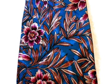 Oscar De La Renta Floral Tie Silk Necktie Blue Brown Cream Purple Boho Men's Fashion Accessories