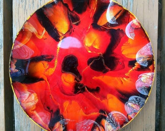 Mid Century Seetusee Style Art Glass Wavy Dish Hand Painted Bowl Leather Backed Home Decor Metallic Foil Vintage