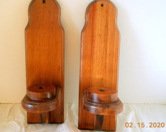Wooden Wall Sconces Pair Handmade Maple Wall Decor Candle Holders Handcrafted Vintage