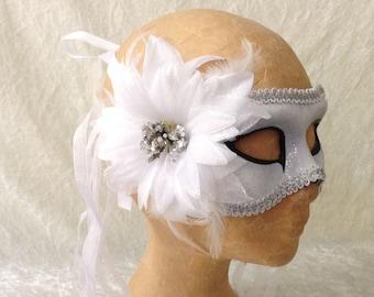 Artisan eye mask: 'Silver Flower' - Traditional handmade mask