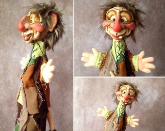 Handmade artisan happy troll puppet - traditional hand puppet, glove puppet for puppet theatre