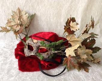 Artisan eye mask: 'Tree mask green/brown leaves' - Traditional handmade mask