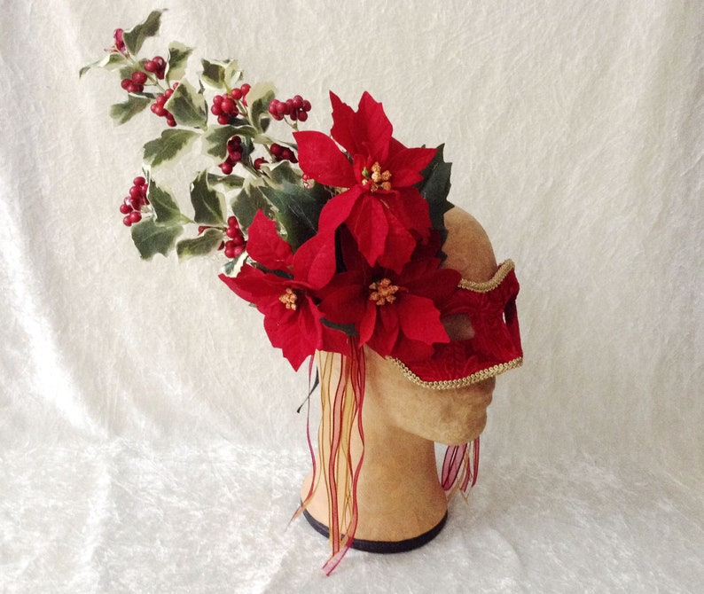 Traditional handmade mask /'Fancy red/' Eye Mask velvet, lace, holly and poinsettias
