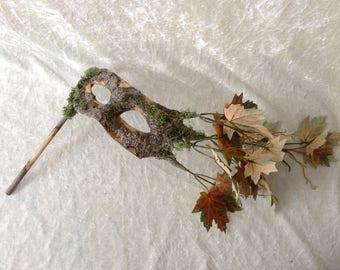 Artisan eye mask on a stick: 'Tree mask green leaves' - Traditional handmade mask
