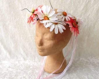 Headdress (crown of leaves and flowers or hairband): 'Pretty white and pink' - handmade headdress