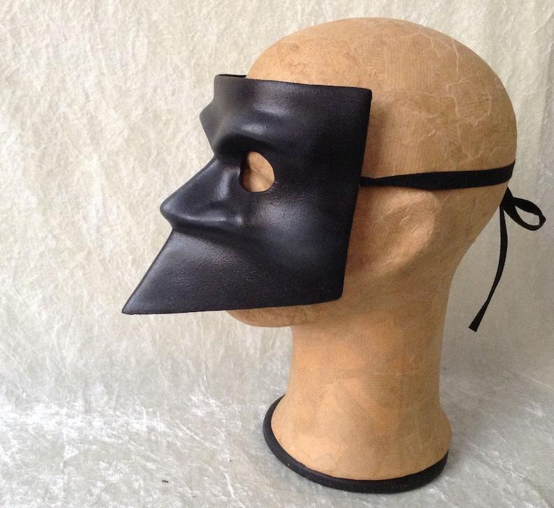 subtle painted highlights - Traditional handmade mask : /'Classic black Bauta/' Bauta mask classic wearable art