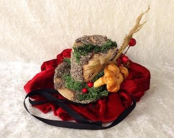 Small tree hat - facinator (treebark imitation with mos and decoration) - handmade little hat