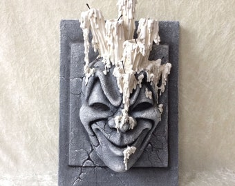 Decorative Panel: 'Gothic stone face' - (various materials on wooden panel)