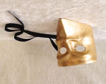Artisan Bauta mask: 'Classic golden Bauta'  (gold leaf) - Traditional handmade mask