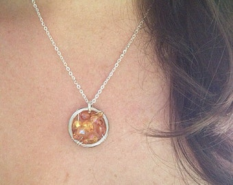 The Multiple Sclerosis (MS) Awareness Necklace: The Life Collection/Sterling Silver/Orange/Swarovski/Czech beads/Charity/Cause/Ribbon