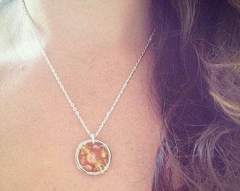 Leukemia Awareness Necklace: The Life Collection/Sterling Silver/orange bead/Swarovski/Czech/Ribbon/Cause/Charity/cancer bone marrow