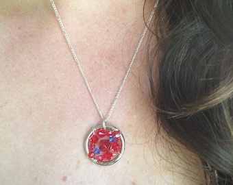 The CHD (Congenital Heart Defect) Awareness Necklace: The Life Collection/Sterling Silver/Red Blue bead/Swarovski/Ribbon/Cause/HLHS/HRHS