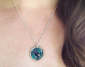 The Ovarian Cancer Awareness Necklace: The Life Collection/Sterling Silver/blue teal bead/Swarovski/Czech/Ribbon/Cause/Charity