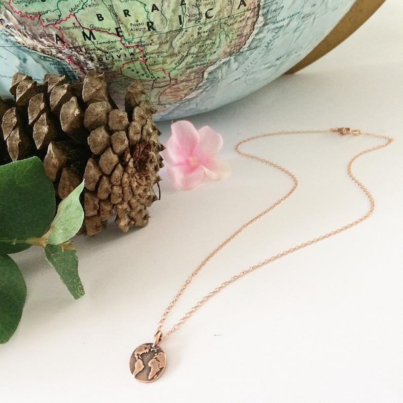 dainty necklace globe charm Globe necklace nature jewelry world necklace rose gold necklace Earth necklace rose gold jewelry