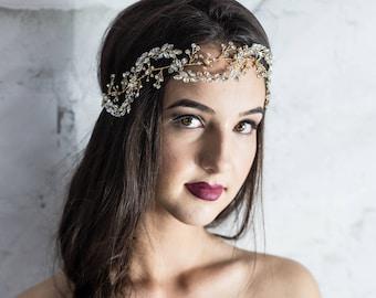 Gold hair vine, bridal hair vine, gold hair piece, gold headband, vine hair piece, gold hairpiece, gold hair accessories, gold tiara