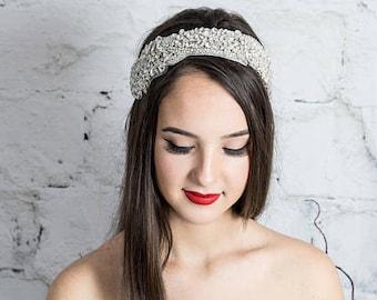 Bridal Headband, Crystal Headband, Wedding Headpiece, White Bridal Tiara, Wedding Tiara, Bridal headpiece, hair piece