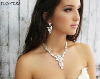 Bridal Jewelry Set, Wedding Jewelry, Bridal Necklace, Cubic Zirconia Necklace, Bridal Statement Jewelry, Bridal Necklace, Weddings
