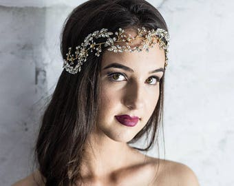 Gold bridal hair vine, gold floral hair wreath with crystals, boho hair accessories, leaf headband, boho wedding hairpiece, hair jewelry